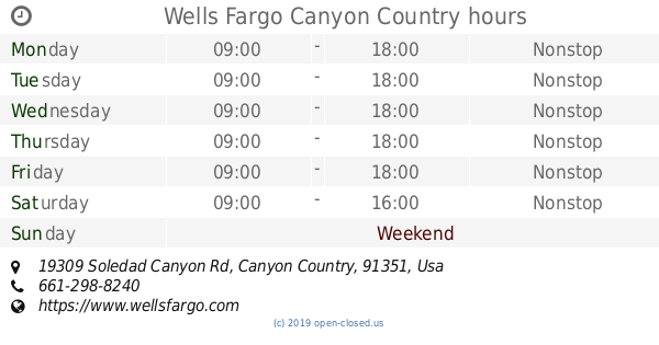 Wells Fargo Canyon Country hours (2019 update)