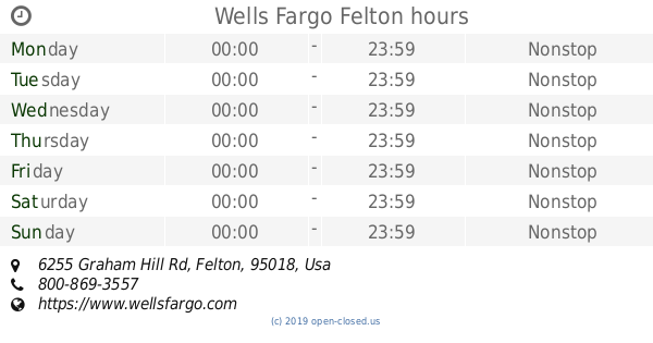 Wells Fargo Felton hours (2019 update)