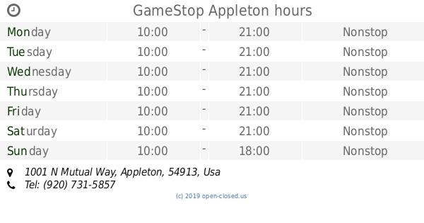 Gamestop Appleton Hours 1001 N Mutual Way