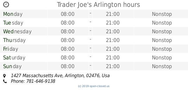 Trader Joe's Arlington hours, 1427 Massachusetts Ave
