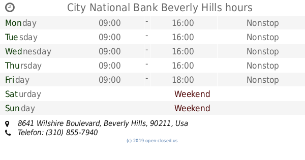 City National Bank Beverly Hills hours, 8641 Wilshire Boulevard